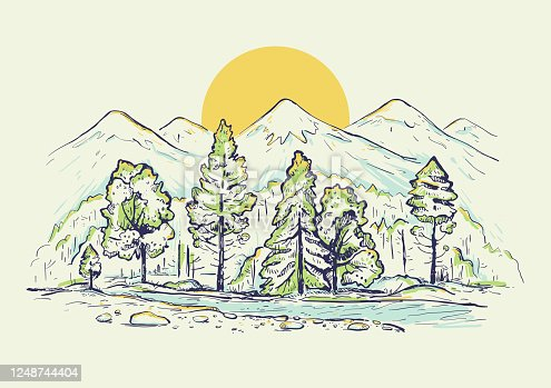 Sketch of a high mountain ranges with forest, river, sunrise or sunset. Landscape. Hand drawn color vector background. Design for t-shirt, pillow print. Postcard, cover and poster