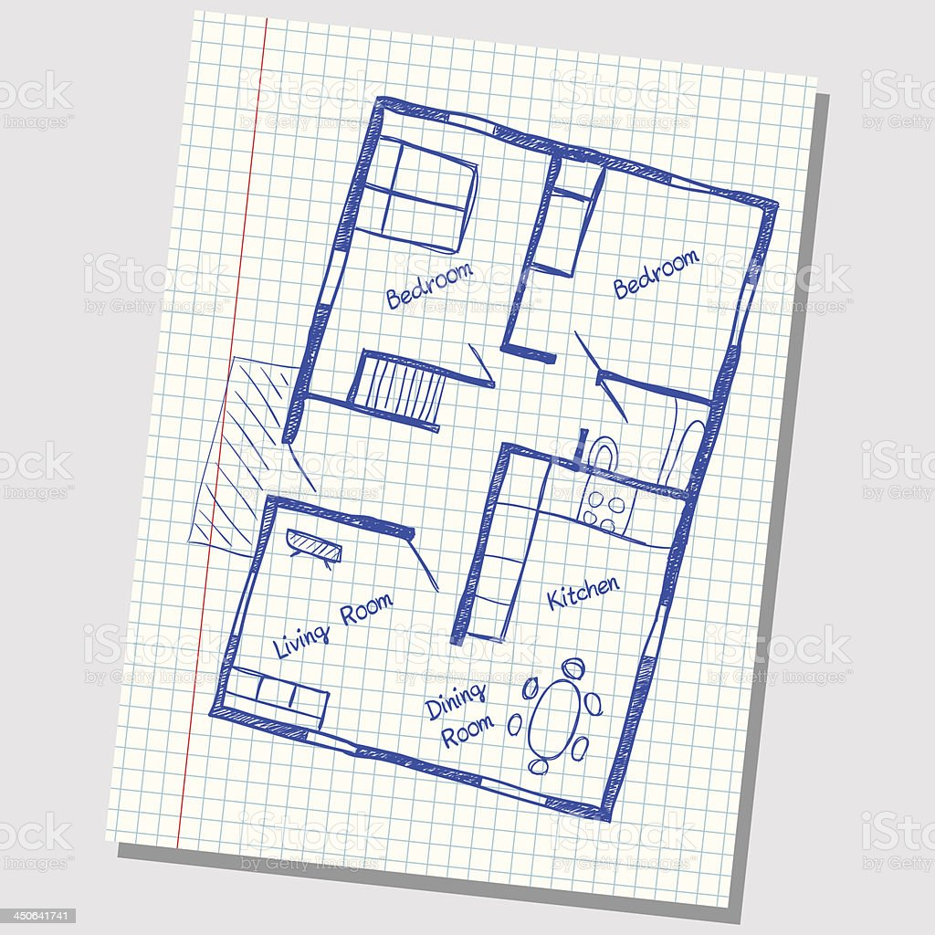 a sketch of a house plan on a grid paper royalty free a sketch of