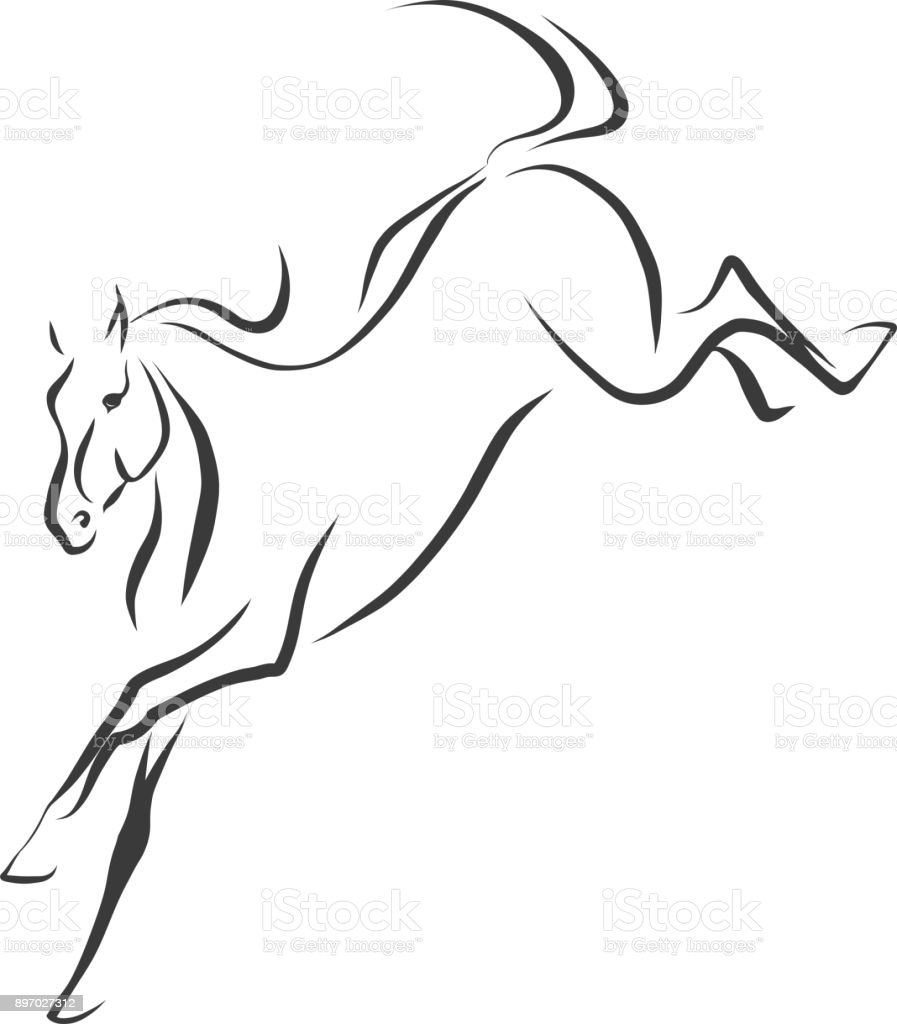 Sketch Of A Jumping Horse Stock Illustration Download Image Now Istock