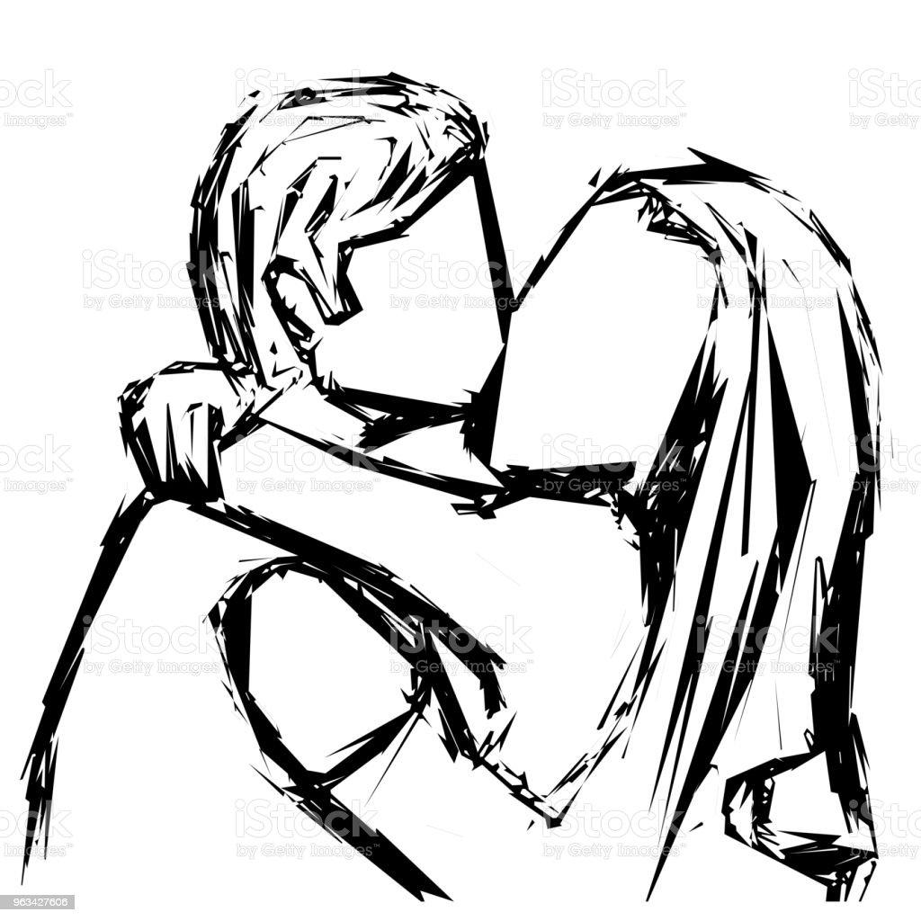 Ilustración De Dibujo De Una Pareja Besándose En El Amor Con Una