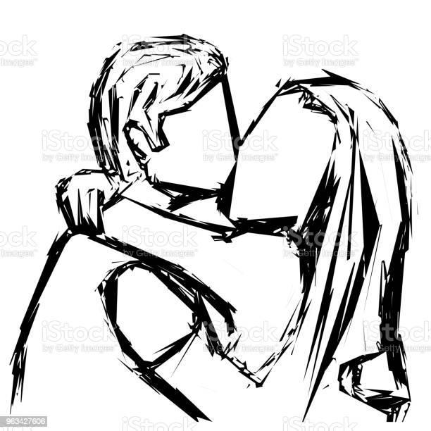 Szkic Całującej Pary Zakochanej W Żelu Ilustracja Wektorowa - Stockowe grafiki wektorowe i więcej obrazów Bazgroły - Rysunek