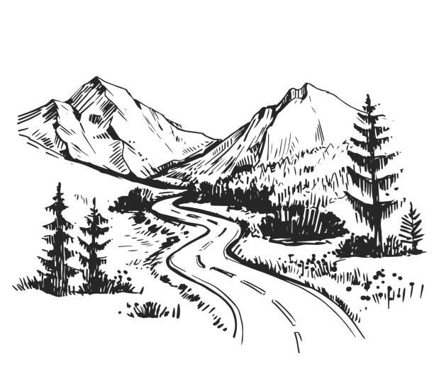 skizze der landschaft mit einer straße und die berge. hand gezeichnete illustration vektor umgewandelt - landstraße stock-grafiken, -clipart, -cartoons und -symbole
