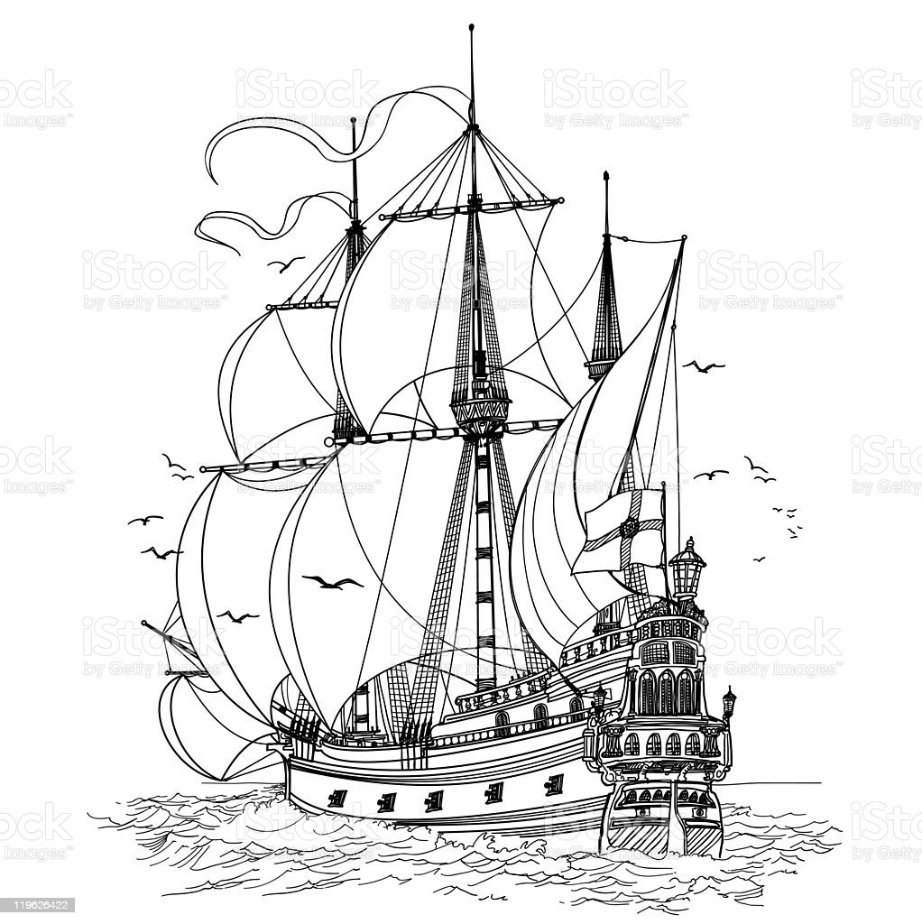 sketch of a large clipper ship with sails open stock vector art