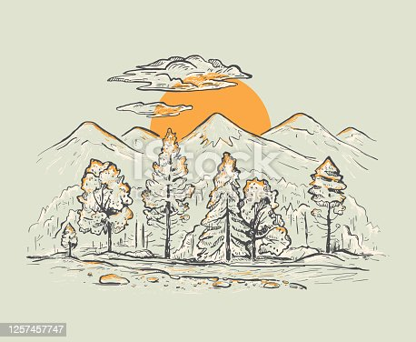 Sketch of a mountains with forest, stream, sunrise or sunset on a gray background. Romantic vector landscape. Hand drawn color  illustration in retro style. Design for t-shirt, pillow print, postcard, poster