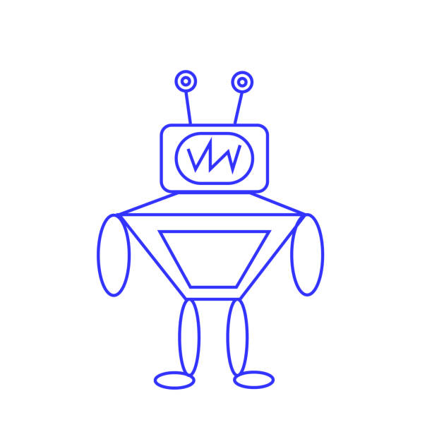 sketch of a robot on a white background vector art illustration