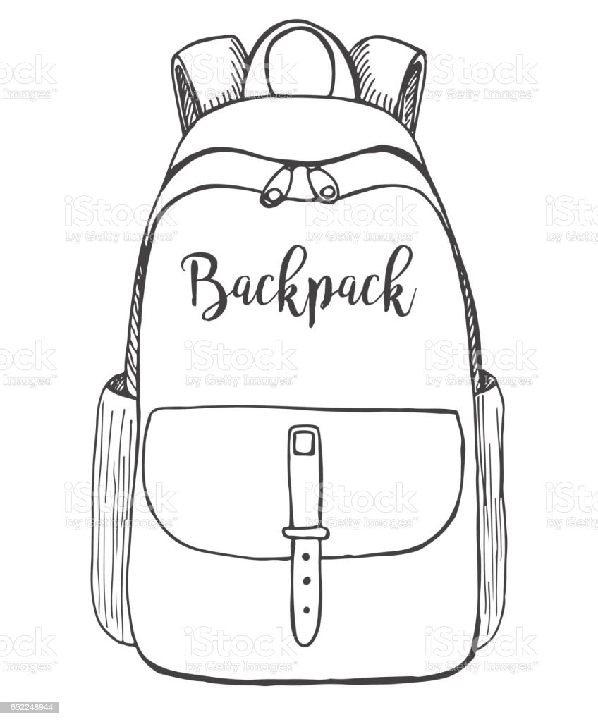 sketch of a rucksack backpack isolated on white background vector