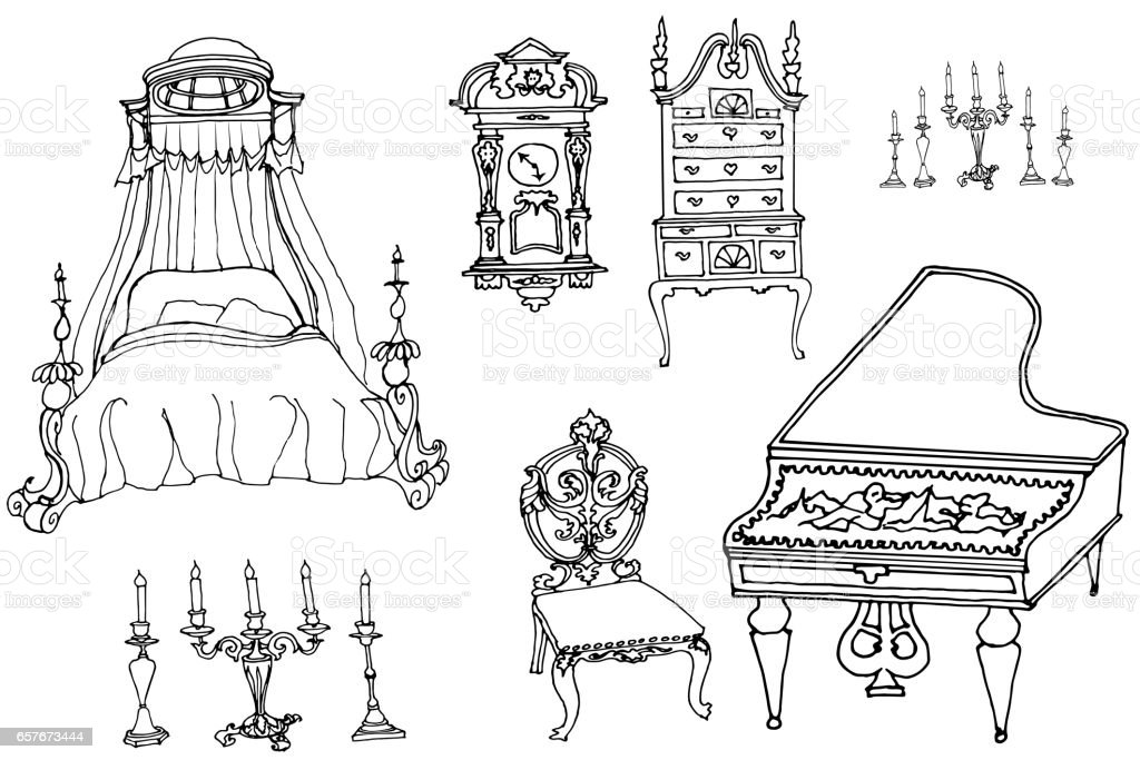sketch of a set of furniture and antiques vector art illustration