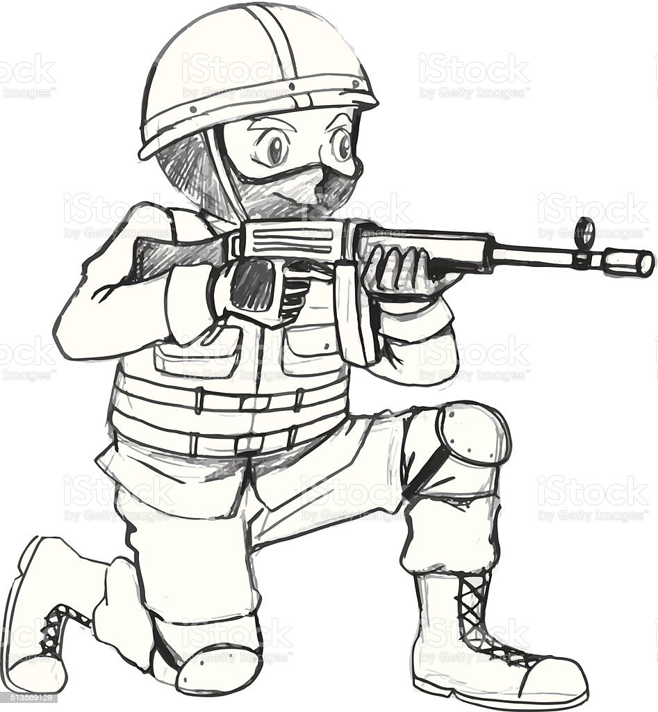 This is an image of Modest Man Holding Gun Drawing