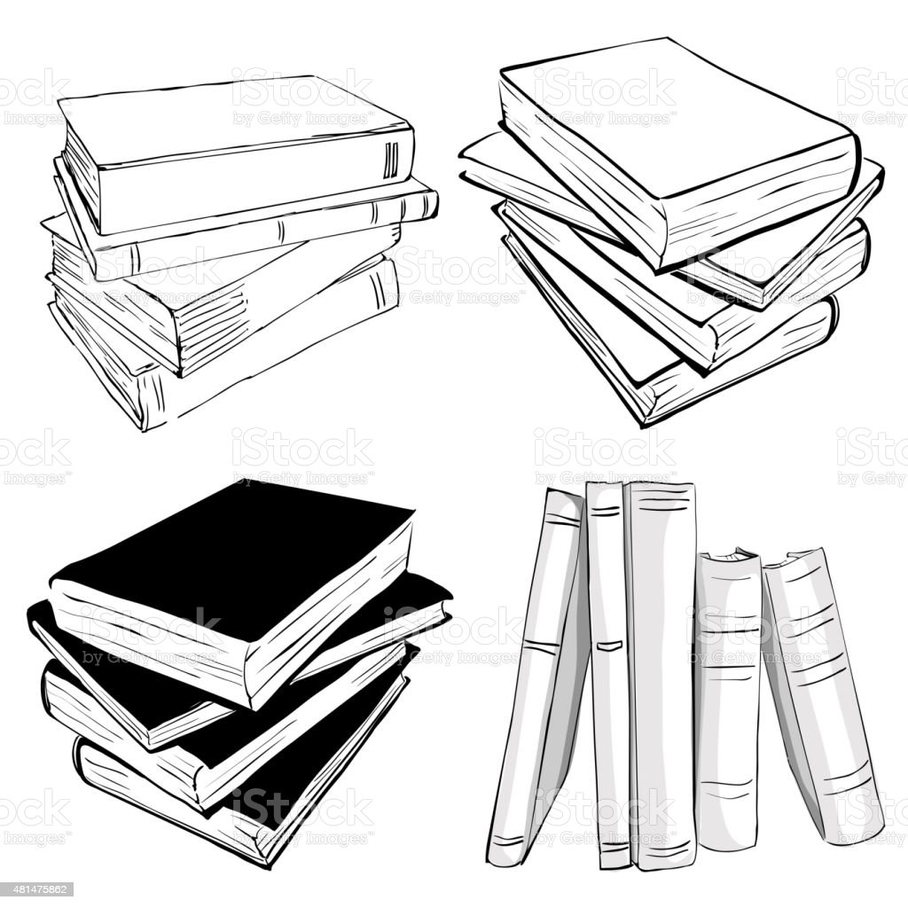 Sketch of a stack books royalty free sketch of a stack books stock vector art