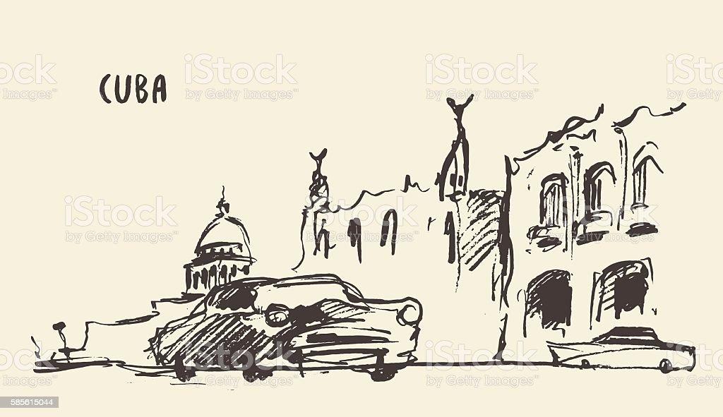 Sketch of a streets in Cuba. Vector illustration. vector art illustration