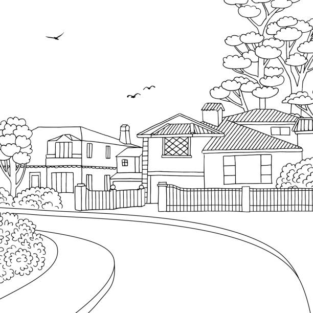 Sketch of a suburban neighbourhood with houses vector art illustration