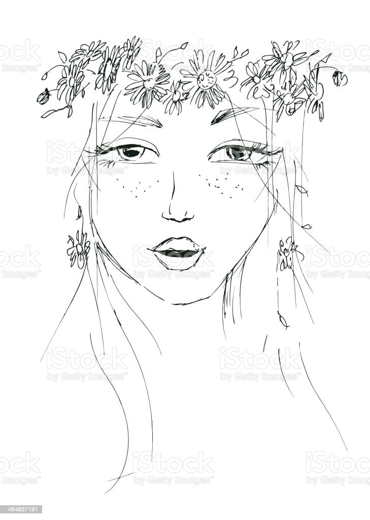 Sketch Of A Woman With Flowers In Her Hair Stock Vector Art More