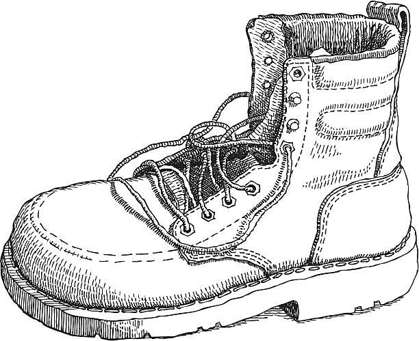 Sketch of a work boot vector art illustration