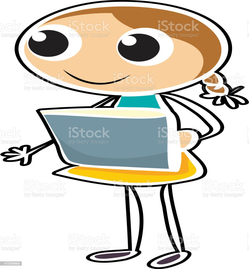 sketch of a young girl holding an object royalty-free stock vector art