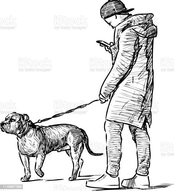 Sketch of a young man with a smartphone walking with his dog vector id1149897986?b=1&k=6&m=1149897986&s=612x612&h=d1hlq4kutfw5ia  6mrmvhjke6z32tftobg1z1tpajq=