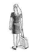 Hand drawing of a citywoman going on a trip