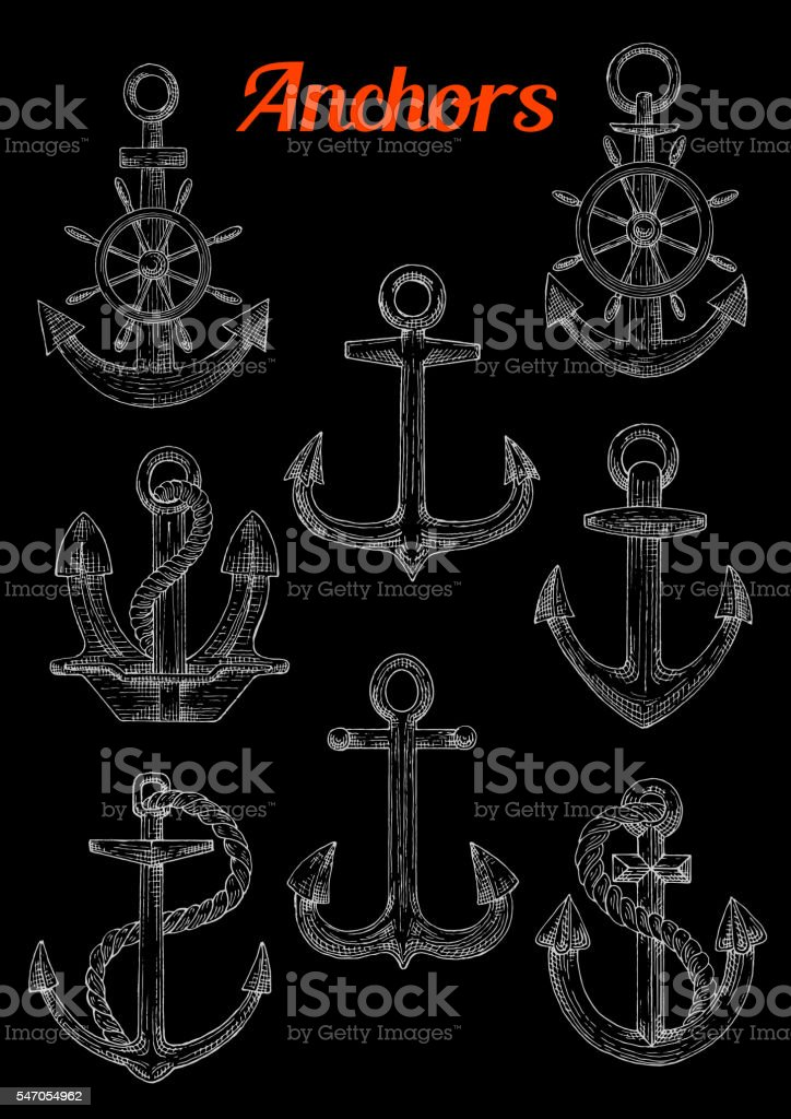 Sketch of admiralty anchors with rope and wheel vector art illustration