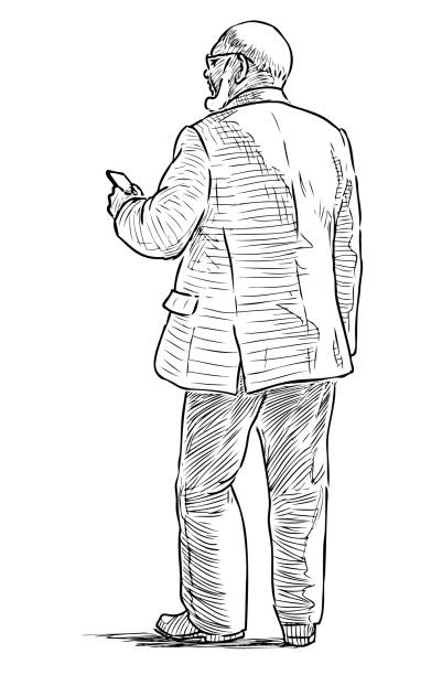 sketch of an elderly man with a mobile phone going down the street - old man standing drawings stock illustrations, clip art, cartoons, & icons