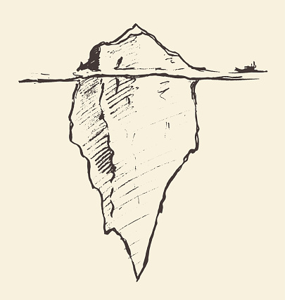 Sketch of an iceberg with icebreaker vector.