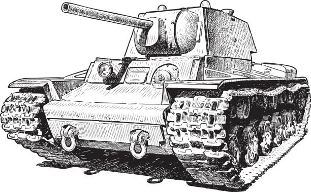 sketch of an old battle tank - world war ii stock illustrations, clip art, cartoons, & icons