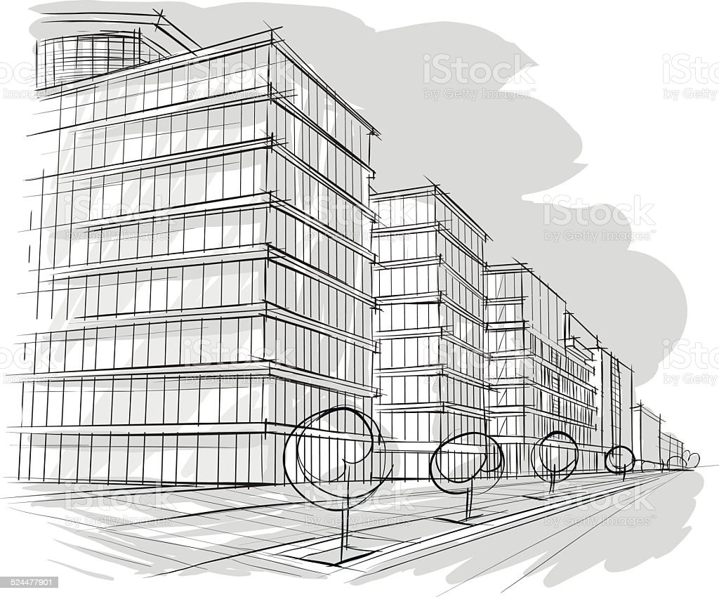 Sketch of architecture vector art illustration