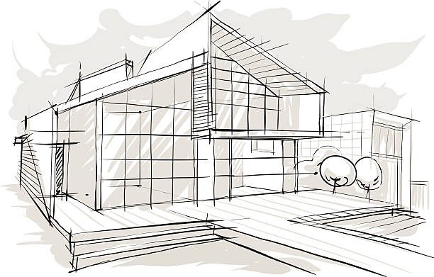 stockillustraties, clipart, cartoons en iconen met sketch of architecture. - architectuur