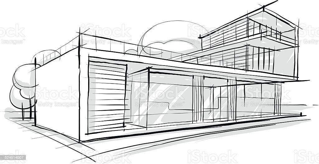 Skizze der architektur stock vektor art und mehr bilder - Architektur skizze ...