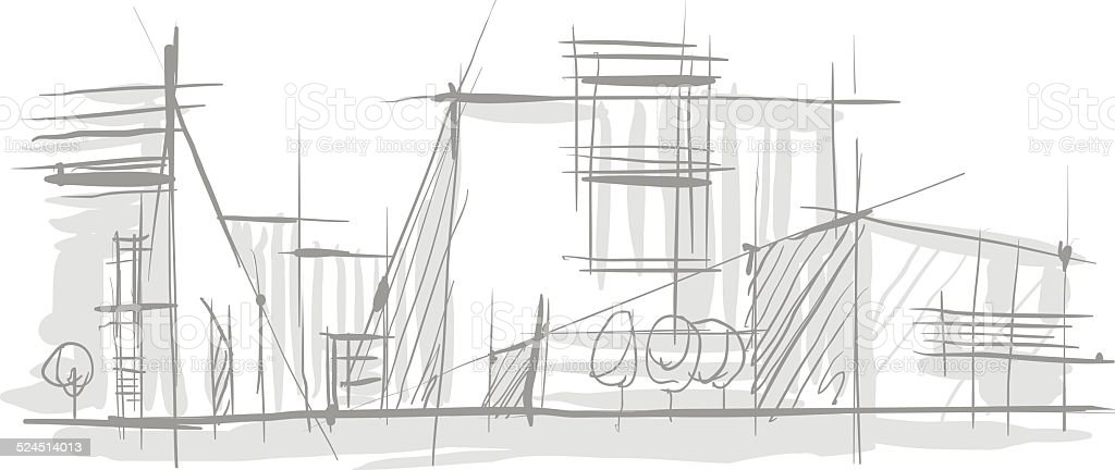 Sketch of Architecture. vector art illustration