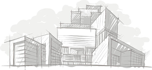 Sketch of Architecture vector art illustration