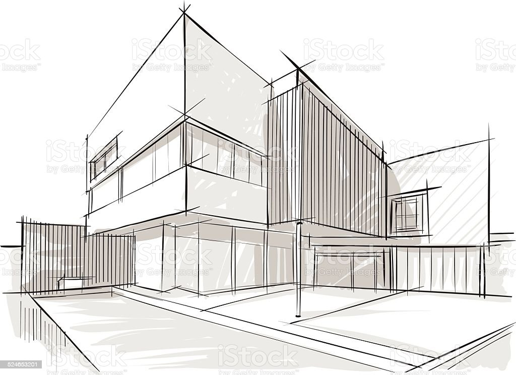 Sketch of architecture stock vector art more images of for Exterior house drawing