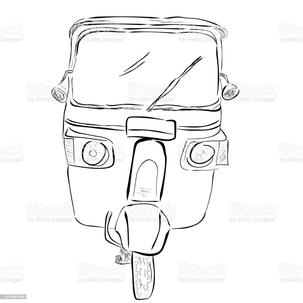 sketch of bajaj, one of economic public transportation in india and indonesia vector art illustration