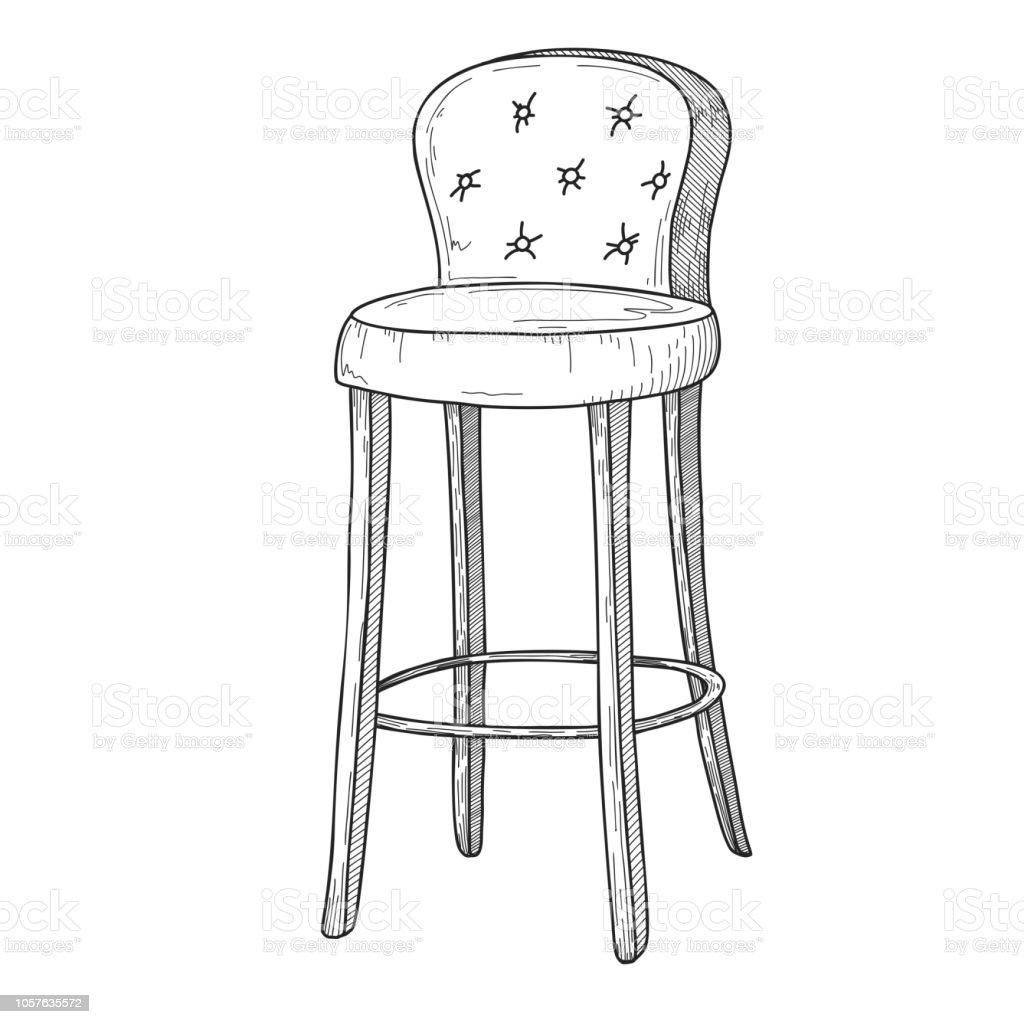 croquis chaise de bar