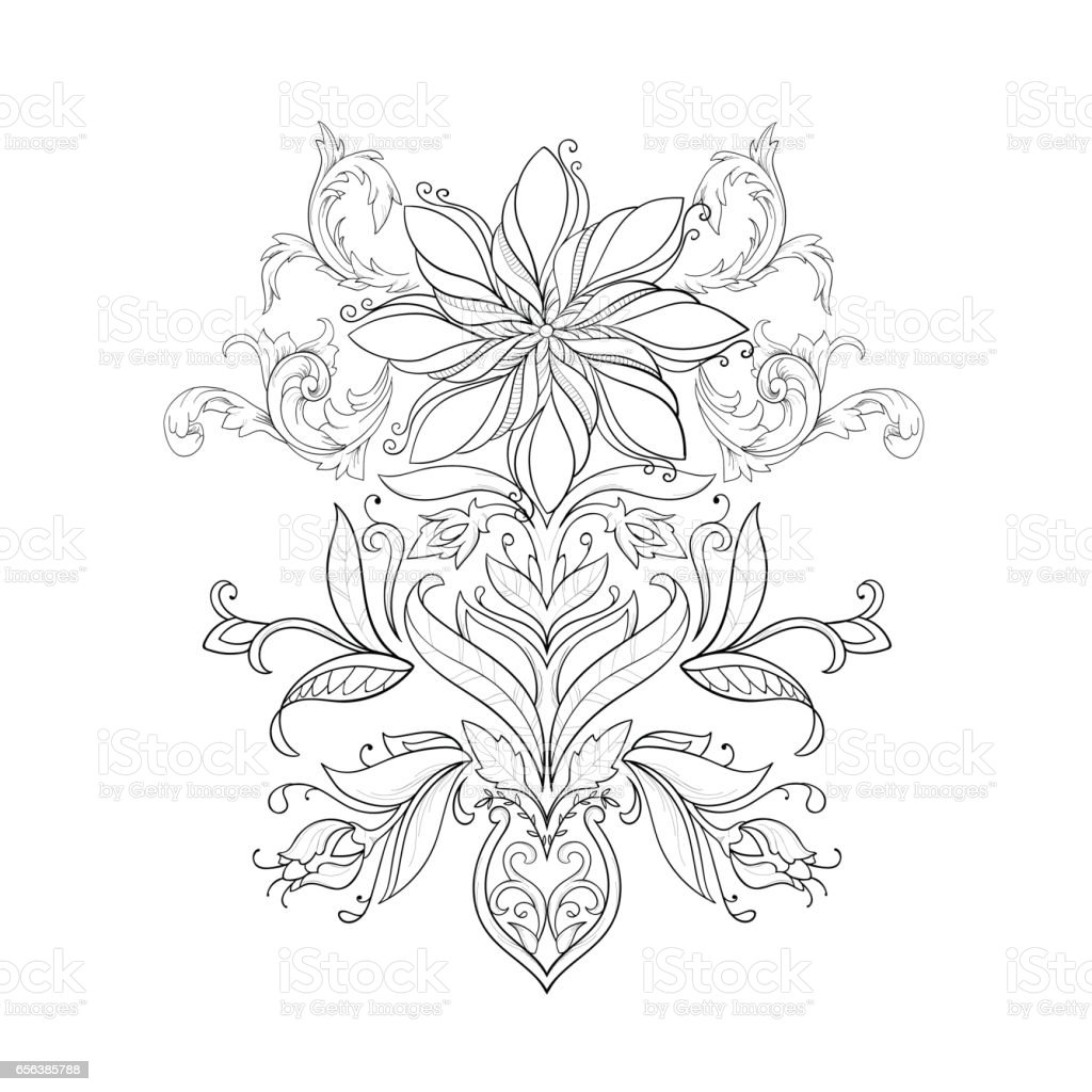 A sketch of beautiful lotuses in a graceful ornament on a white background. vector art illustration