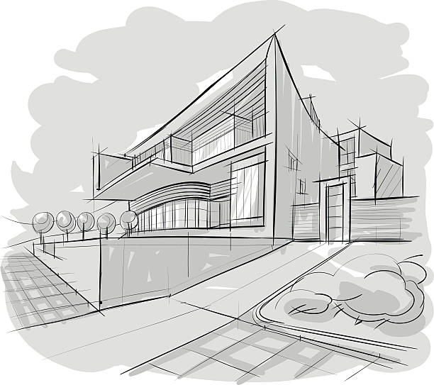 Sketch of building vector art illustration