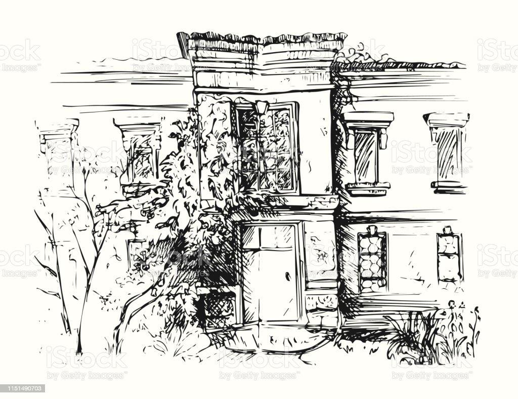 Croquis De Bâtiment Avec La Cour Illustration De Dessin De ...