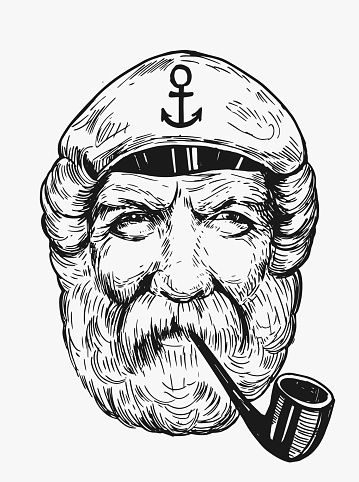 Sketch of captain. Hand drawn illustration converted to vector