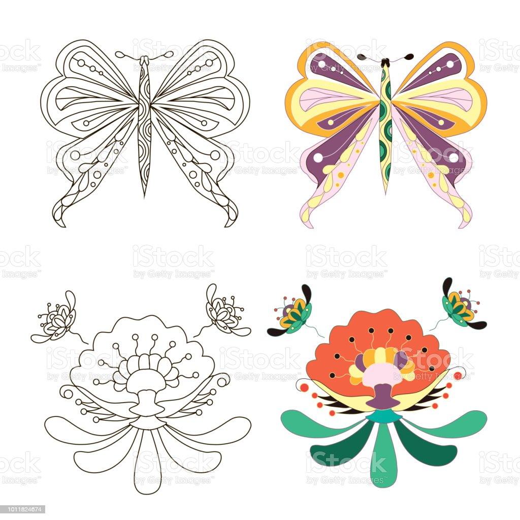 Skizze Der Karikaturen Monochrom Und Malvorlagen Blumen Und