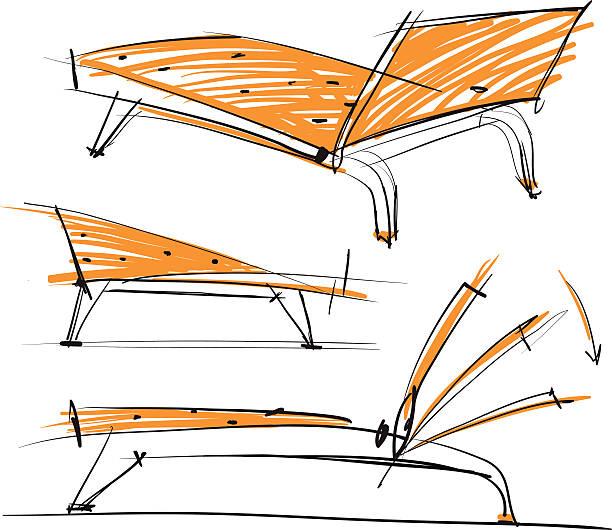 sketch of chair vector art illustration