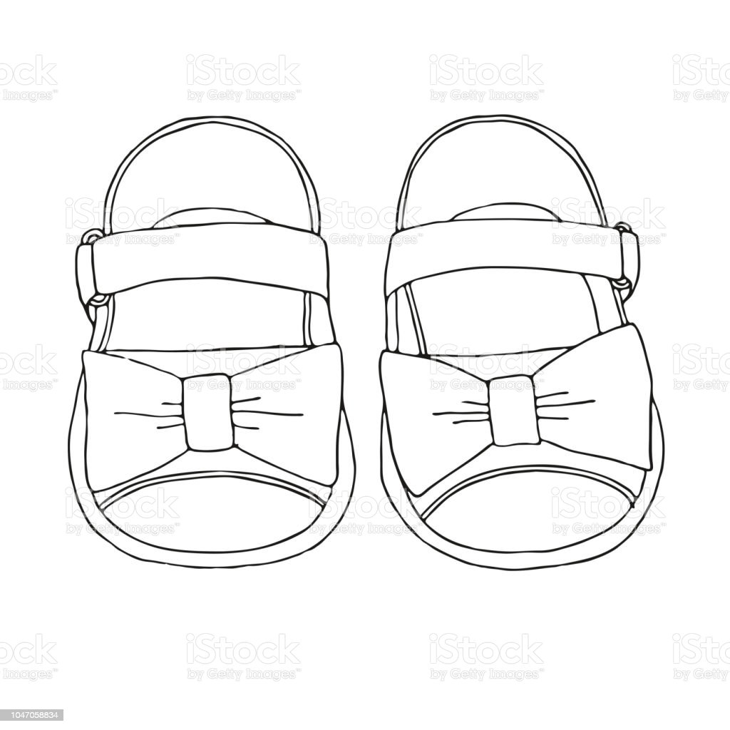 b1317a0e8f5bd Sketch of children's sandals for girls. Vector illustration. royalty-free  sketch of childrens