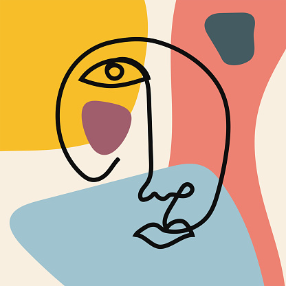 Sketch of continuous human face on colored background with abstract shapes. Modern vector illustration.