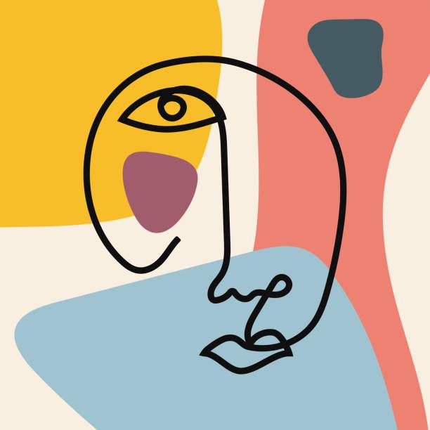 illustrations, cliparts, dessins animés et icônes de croquis du visage humain continu sur le fond coloré avec des formes abstraites. illustration moderne de vecteur. - portrait homme