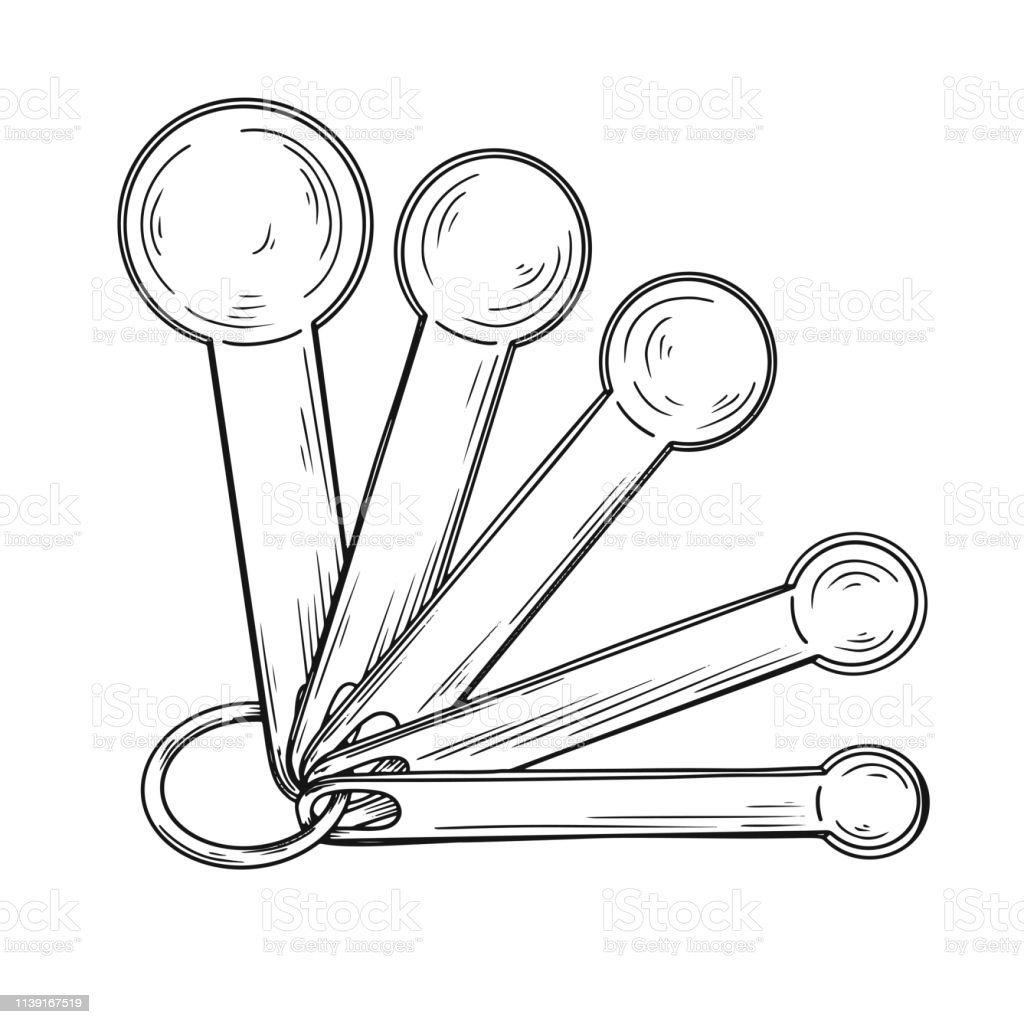 Sketch Of Different Measuring Spoons Isolated On White Background Vector  Illustration Stock Illustration - Download Image Now - iStock