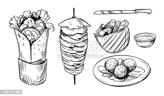 Sketch of doner kebab. Fast food illustration.