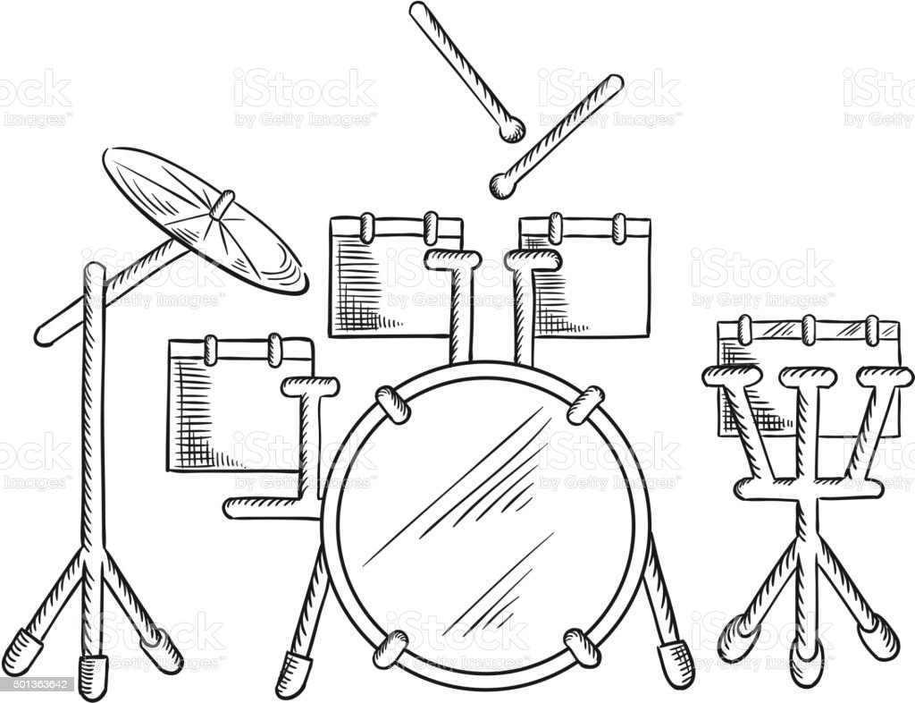 Skizze Der Drum Set Mit Traditionellen Trikot Stock Vektor Art und ...