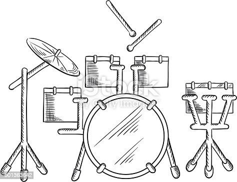 Sketch Of Drum Set With Traditional Kit Stock Vector Art More