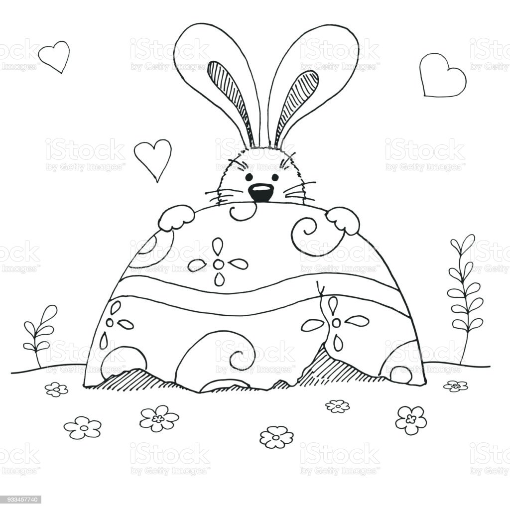 Skizze Der Osterhase Und Ostereier Vektor Frohe Ostern Stock