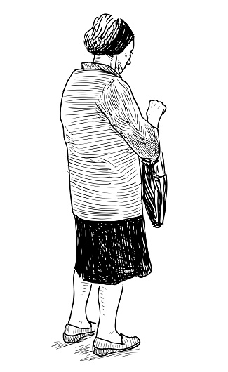 Sketch of elderly city woman staying on street while walking