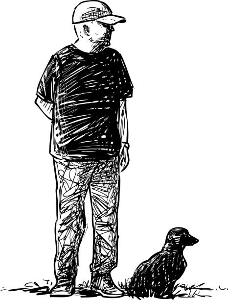 sketch of elderly man with his dog stroliing on grass - old man standing drawings stock illustrations, clip art, cartoons, & icons