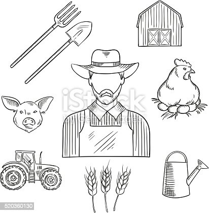 Sketch Of Farmer Profession For Agriculture Design Stock