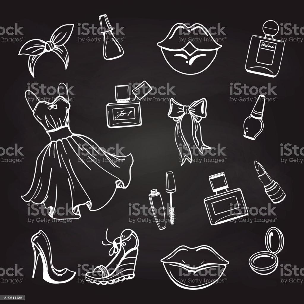 Sketch of fashion elements on chalkboard vector art illustration